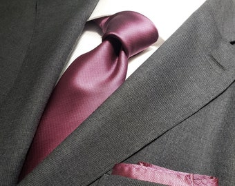 Solid Sateen Steel Purple Tie and Pocket Square