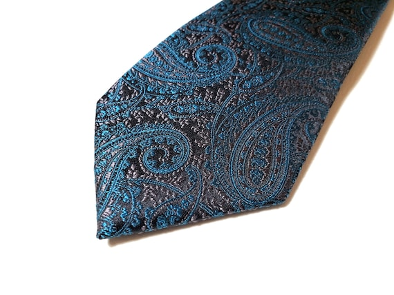 with Paisley in Bluish Charcoal Gray Grey on Navy Blue 3 inch wide Silk Tie