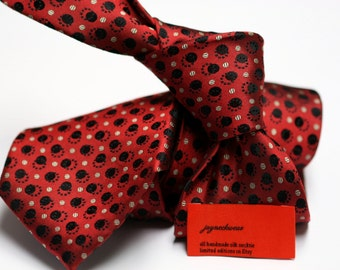 Silk Tie in Neats with Black and Taupe on Red