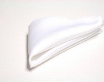SILK Pocket Square in White