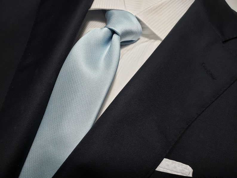 SKY BLUE Light Blue Necktie in Solid Tonal Optional Bow Tie and Pocket Square