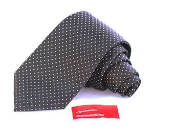 Tie (3 inch wide) in White Pin Dots on Woven Black Twill