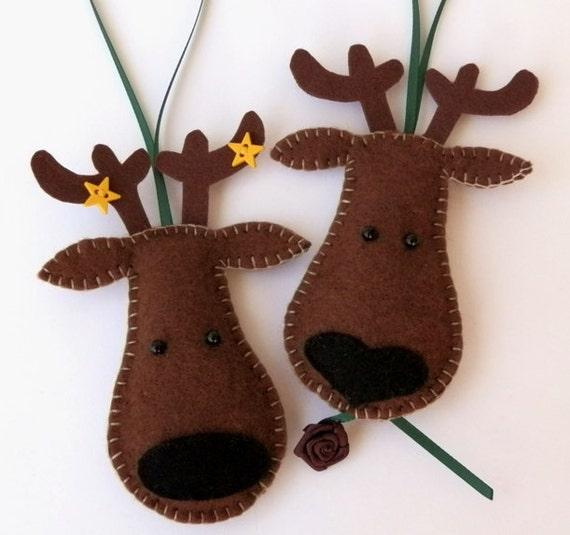 Christmas Tree Ornaments Etsy: Items Similar To Reindeer Felt Christmas Tree Ornaments