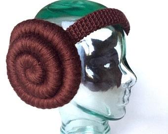 Space Princess earmuffs, handmade crochet || Child, Adult || Ready to Ship