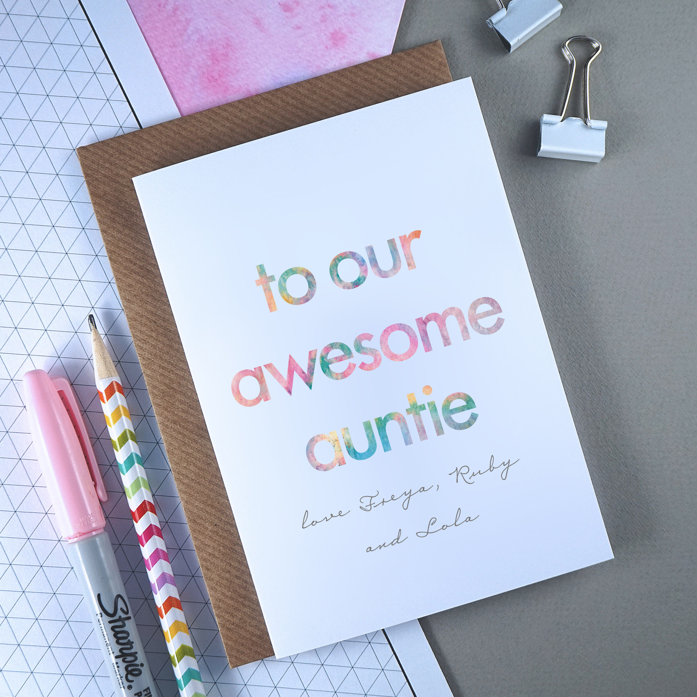 Awesome Auntie Personalised Birthday Card Aunt Aunty