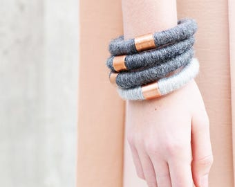 Wool & Copper Statement Bracelet - Stackable Bracelets - Wool Bangle - Industrial Jewelry - Contemporary Design - 7th Anniversary Gift