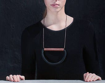 Black Rope, Brown Leather Cord and Copper Statement Necklace - Industrial Jewelry - Modern Design - Contemporary Necklace - Black & Copper