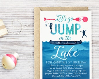 Lake Birthday Party Invitation DIGITAL FILE, Beach Ocean Birthday Party Invite, Fishing Birthday Party, Party at the Lake!
