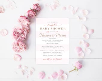 Custom Baby Shower Invites, Blush Pink Baby Girl Shower Invite, Pink & Ivory Couples baby Shower Invitations, PRINTED with Envelopes
