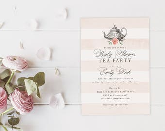Vintage Tea Party Baby Shower Invites, High Tea Party Baby Shower Invitations, English Tea Invitations, Time for Tea, Printed with Envelopes