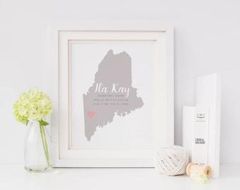 Custom Birth State Name Print for Nursery, Baby Stats Birth Print, Nursery Wall Art, State Nursery Print, DIGITAL FILE ONLY