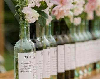 Custom Wine Table Numbers Seating Charts, Seating Chart Names on Wine Labels, Escort / Place Card Wine Labels PRINTED & SHIPPED (Sets of 4)