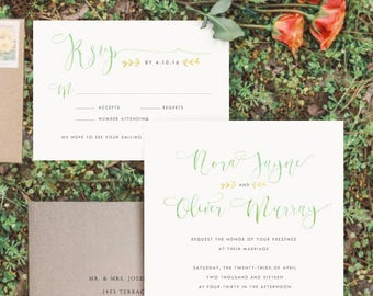 Rustic Calligraphy Invitations, Boho Wedding Invitations, Gold & Mint Invitations, Bohemian Wedding Invite, OTHER COLORS, Custom made