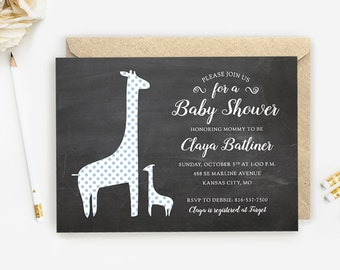 Girl or Boy Giraffe Baby Shower Invites, Blue Shower Invites, Chalkboard Print Baby Shower Invitations w/ Envelopes, other color options