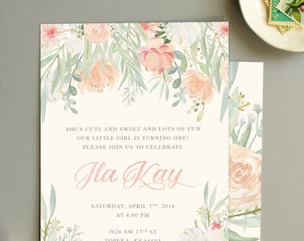 Floral First Birthday Invites, Watercolor Flower First Birthday Invites, Girl Birthday Invitations Printed Front & Back Envelopes included