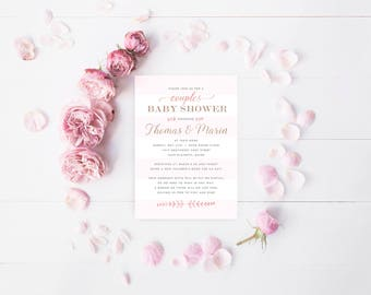 Custom Baby Shower Invites, Blush Pink Baby Girl Shower Invite, Pink & Ivory Couples baby Shower Invitations, DIGITAL FILE Print your Own
