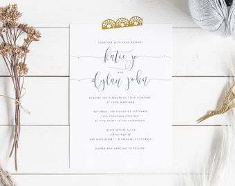 Calligraphy Wedding Invitation Suite, Modern Wedding Invites, Vintage Wedding Invites, Rustic Invitations, Calligraphy Invite