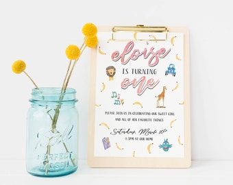 Favorite Things Birthday Invitations, Favorite Things Party Invites, 1st Birthday Invite, Customized graphics / text, Printed with Envelopes