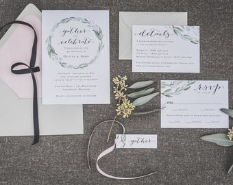 Wreath Greenery Wedding Invitation Suite, Eucalyptus Wedding Invites, Refined Farmhouse Wedding Invitations, Calligraphy Invitations