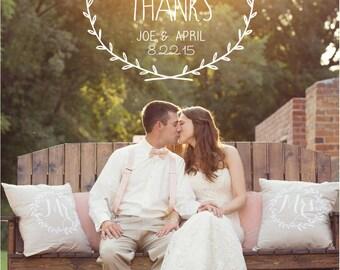 Rustic Wreath Wedding Thank You Cards PRINTED WITH ENVELOPES, Vintage Wedding Thank you Cards, Wedding Photo Thank You Cards, Flat 5x7 Cards