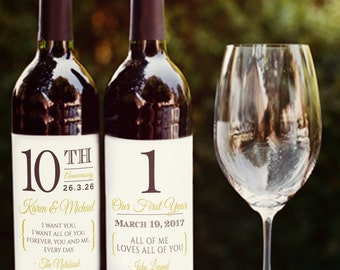 Personalized Anniversary Wine Labels, Wine Wedding Favors, Corporate Wine Labels, Shower Engagement gifts, Pre-cut PRINTED Sets of 4