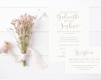 Farmhouse Calligraphy Wedding Invitation Set, Vintage Wedding Invitations, Elegant Invites, Farm and Country Invites, Barn Wedding Invites