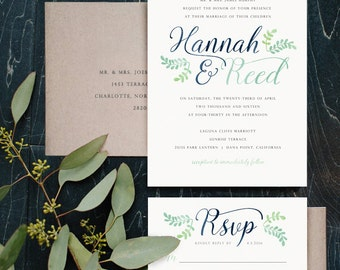 Navy & Mint Rustic Watercolor Invitations, Calligraphy Wedding Invitations, Wreath Laurel Invitations, OTHER COLORS available, Custom Made