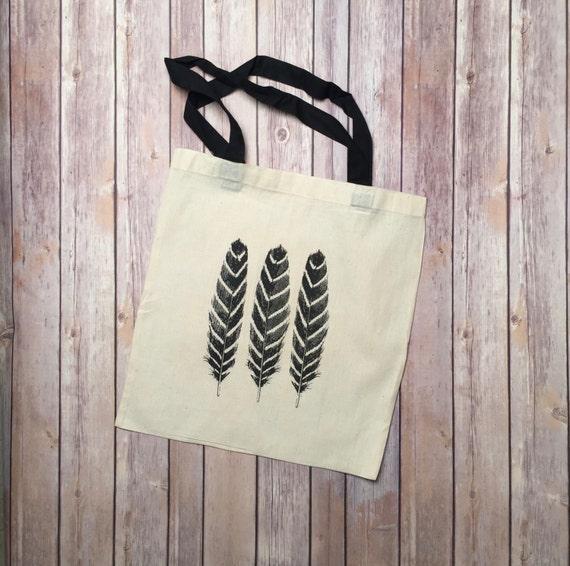 27f48638154595 Cabas-sac plume sac cadeau pour elle coton noir motif | Etsy
