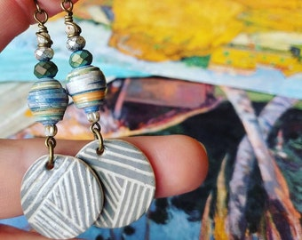 Cezanne Art Calendar Paper Bead Earrings Color Drops with Heartstone Gallery Ceramic Charms