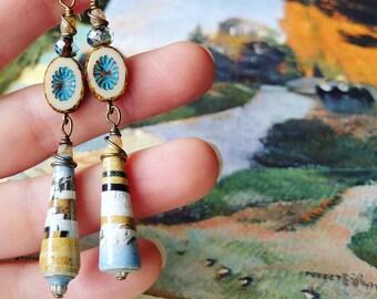 Mixed Landscape Nature Book Paper Bead Earrings Color Drops