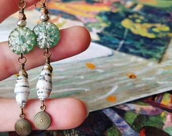 Antique Map Art Book Paper Bead Earrings Color Drops
