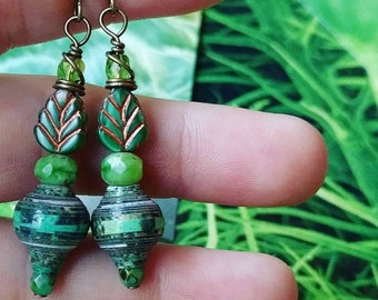 Mixed Forest and Ocean Nature Book Paper Bead Earrings Color Stacks