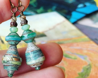 Antique Map Art Book Paper Bead Earrings Color Stacks