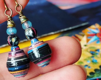Dyed Fabric in Market Travel Book Paper Bead Earrings Color Stacks