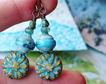 World Map Atlas Book Paper Bead Earrings Color Stacks