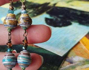Van Gogh Monet Art Book Mix Paper Bead Earrings Color Drops