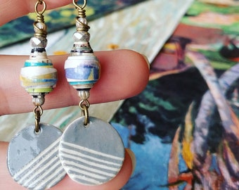 Modern Art Watercolor Book Paper Bead Earrings Color Drops with Heartstone Gallery Ceramic Charms