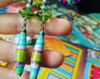 Liz-Ha Color Junkie Monoprint Scraps Paper Bead Earrings, Liz Carlson paper