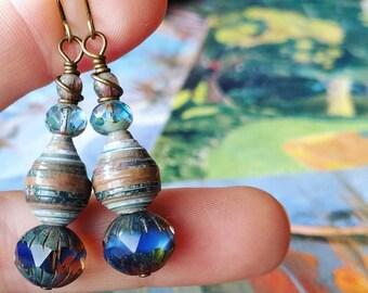 Cezanne Art Calendar Paper Bead Earrings Color Stacks