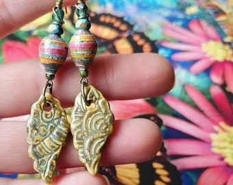 Upcycled School Reading Poster Paper Bead Earrings Color Drops with Flatland Alpacas Ceramic Charms