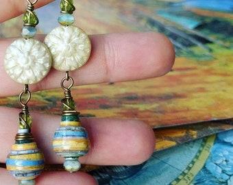 Van Gogh Art Book Paper Bead Earrings Color Drops