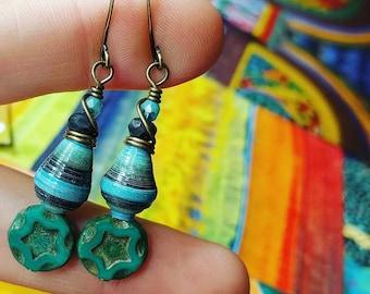 Mixed Ocean Nature Book Paper Bead Earrings Color Stacks