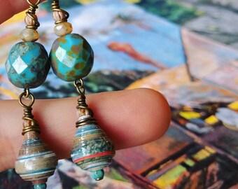 Monet Art Calendar Paper Bead Earrings Color Drops