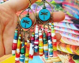 Rainbow Color Theory Art Book Paper Bead Chandelier Earrings