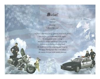 Personalized Name Poem or Name Keepsake on Police Print - Free Shipping