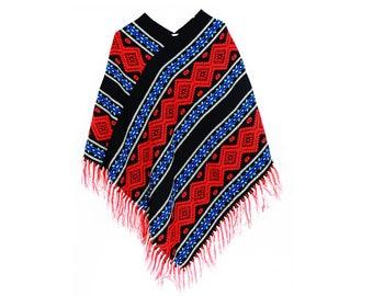 Vintage Boho Hippie Fringe Woven Poncho size small