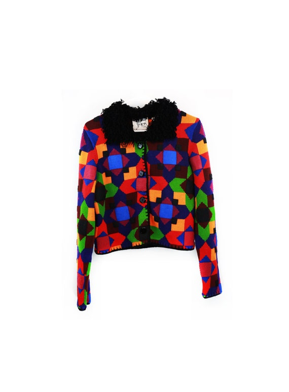 Vintage 80s/90s Funky Multi-Colored Cropped Knit C