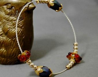 Asta - Tahitian Pearl Bangle Bracelet, handmade glass beads, silver, FREE SHIPPING US