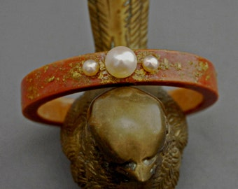 Phylicia - Handmade Wood Stacking Bangle with cultured pearls and yellow gold sprinkles. Free Shipping USA