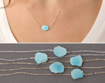 Raw Turquoise Necklace, GENUINE Sleeping Beauty Turquoise on 14k Gold Fill, Sterling Silver, or Rose Gold Fill / Layered and Long LN631